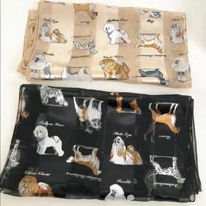 Two Vintage Satin Sheer Ladies Scarves Dogs Print
